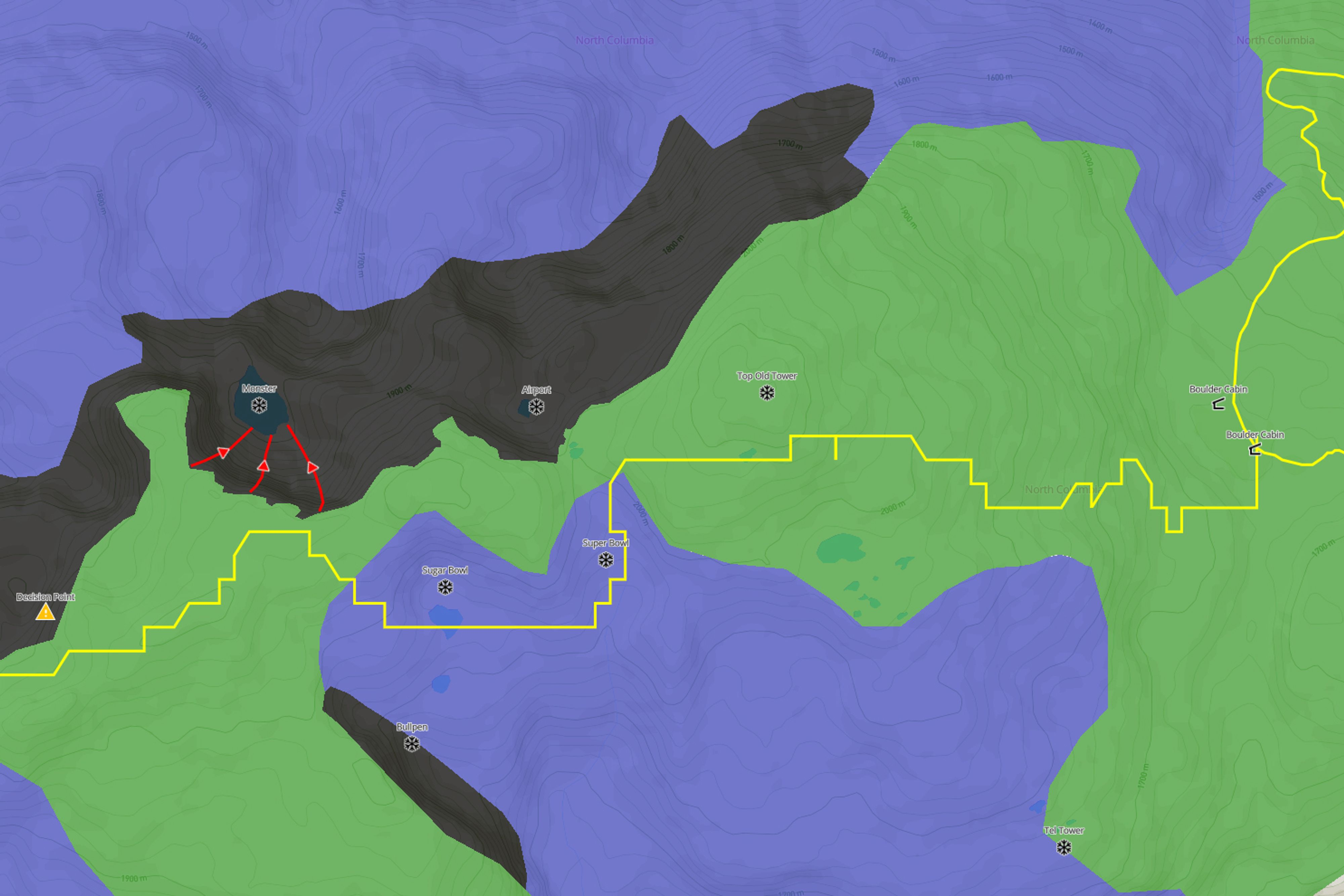 Click on the Avalanche Canada icons to learn more about the different elements of the ATES map.