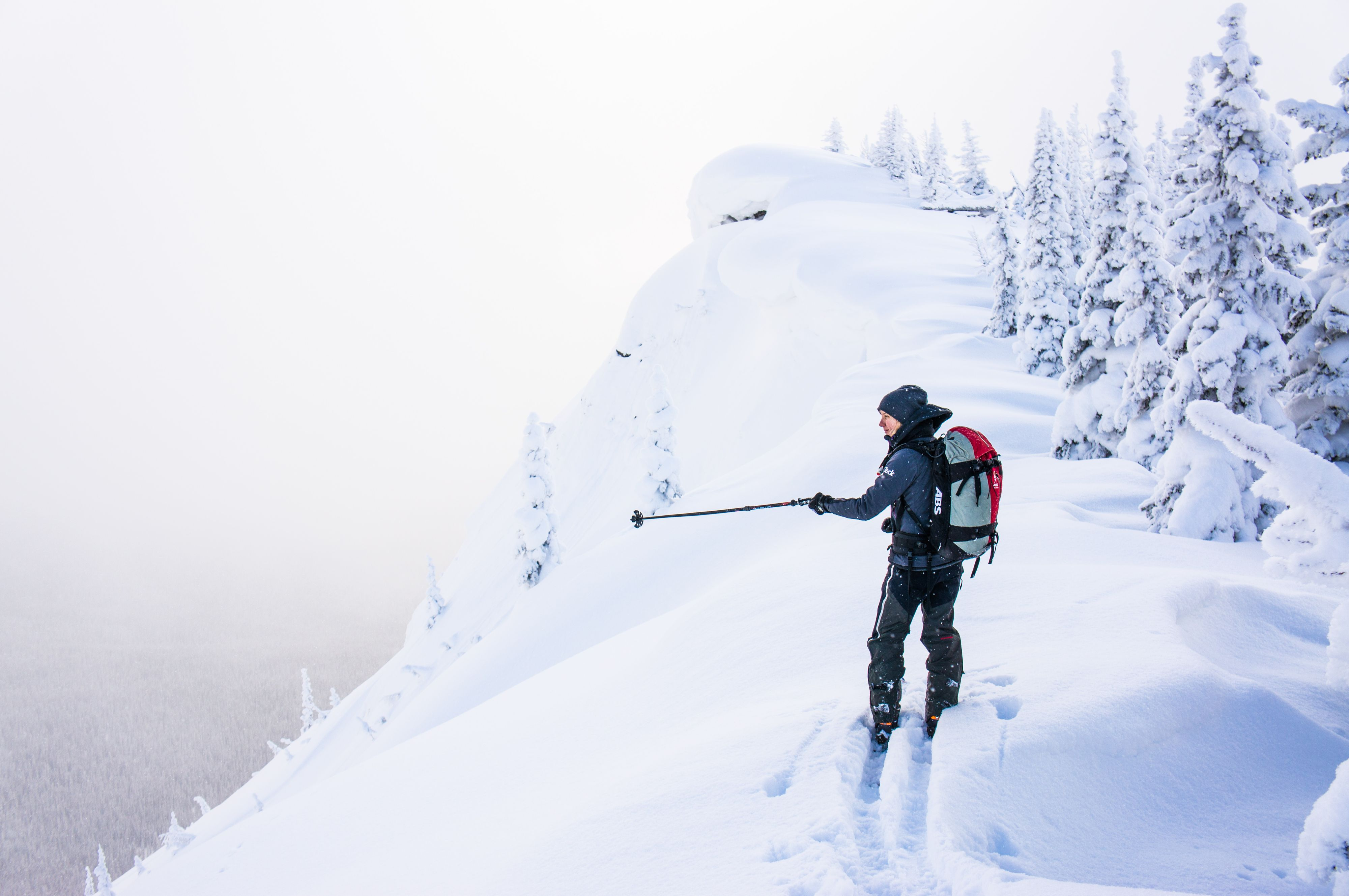 Skier standing on ridge