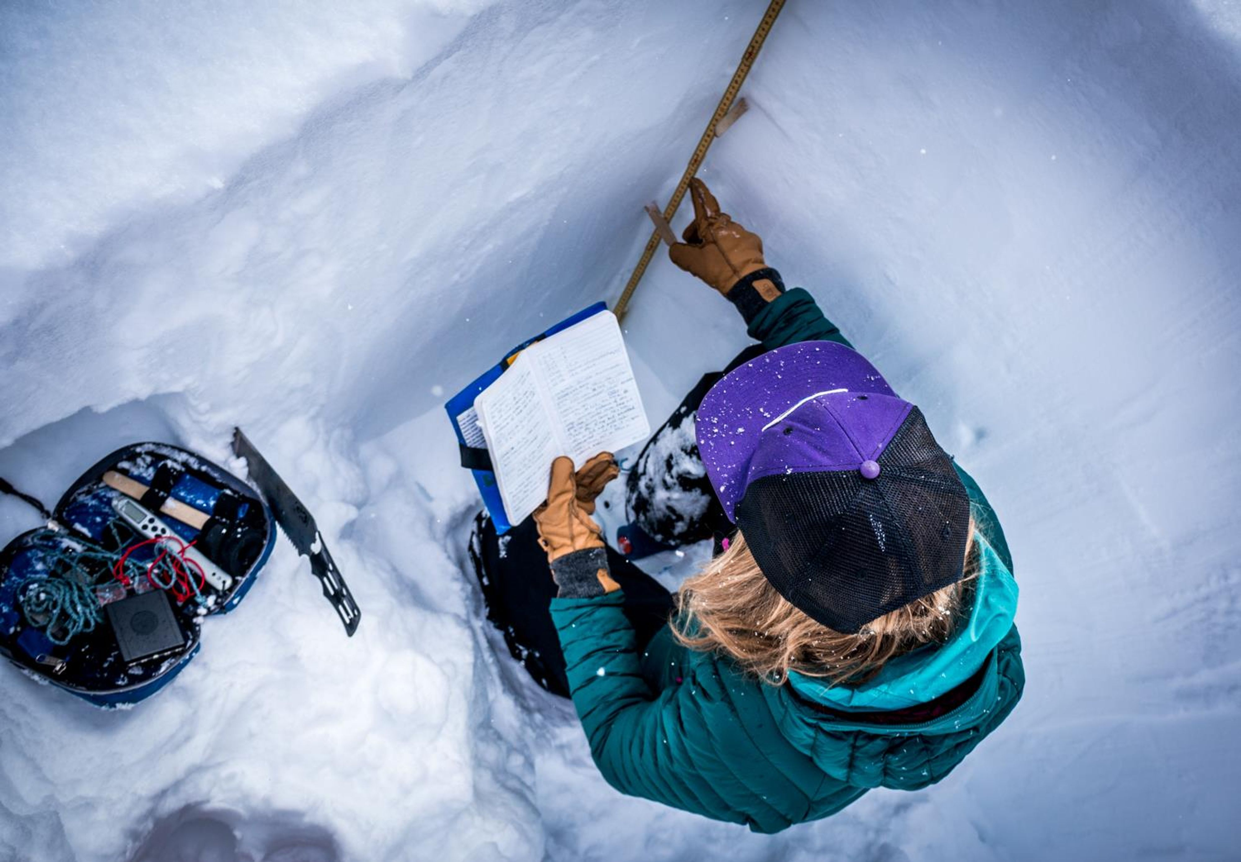 An avalanche professional digs a snow pit.