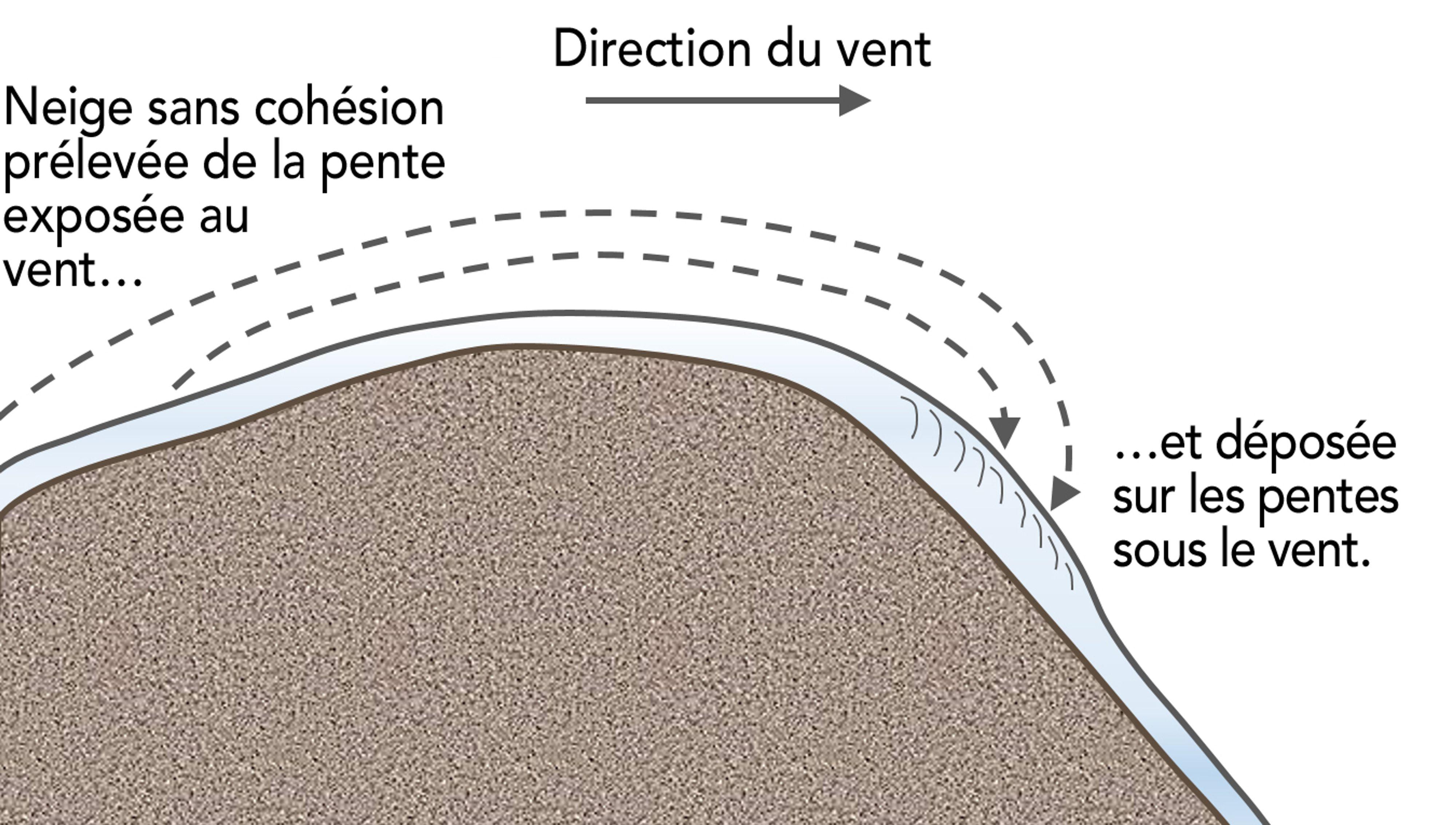 Les plaques à vent se forment lorsque la neige sans cohésion transportée par le vent est déposée sur les pentes sous le vent (abritées du vent).