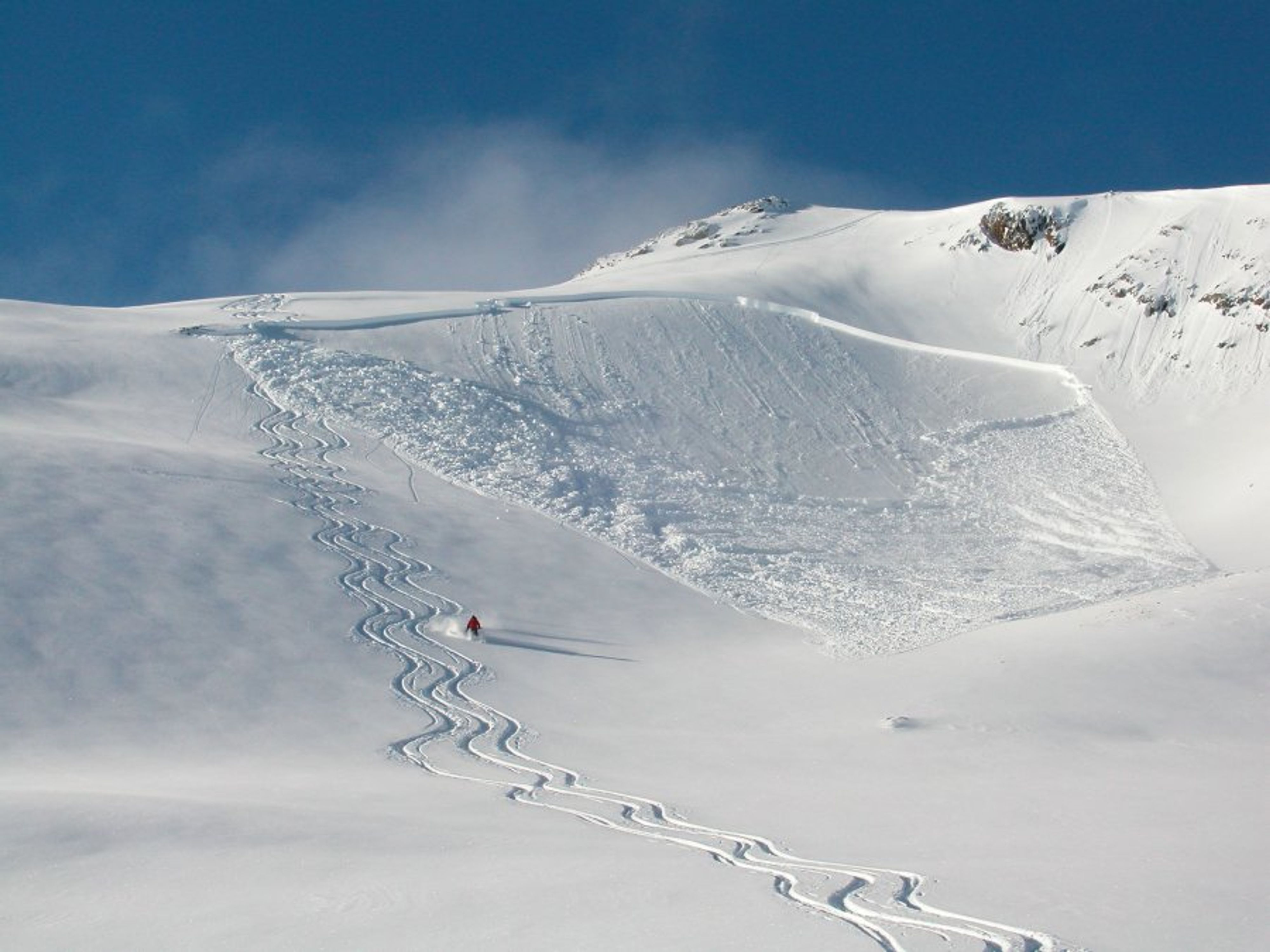 This avalanche was triggered by a skier at the top of a convex roll, where the slope rapidly steepened. Fortunately, no one was caught.
