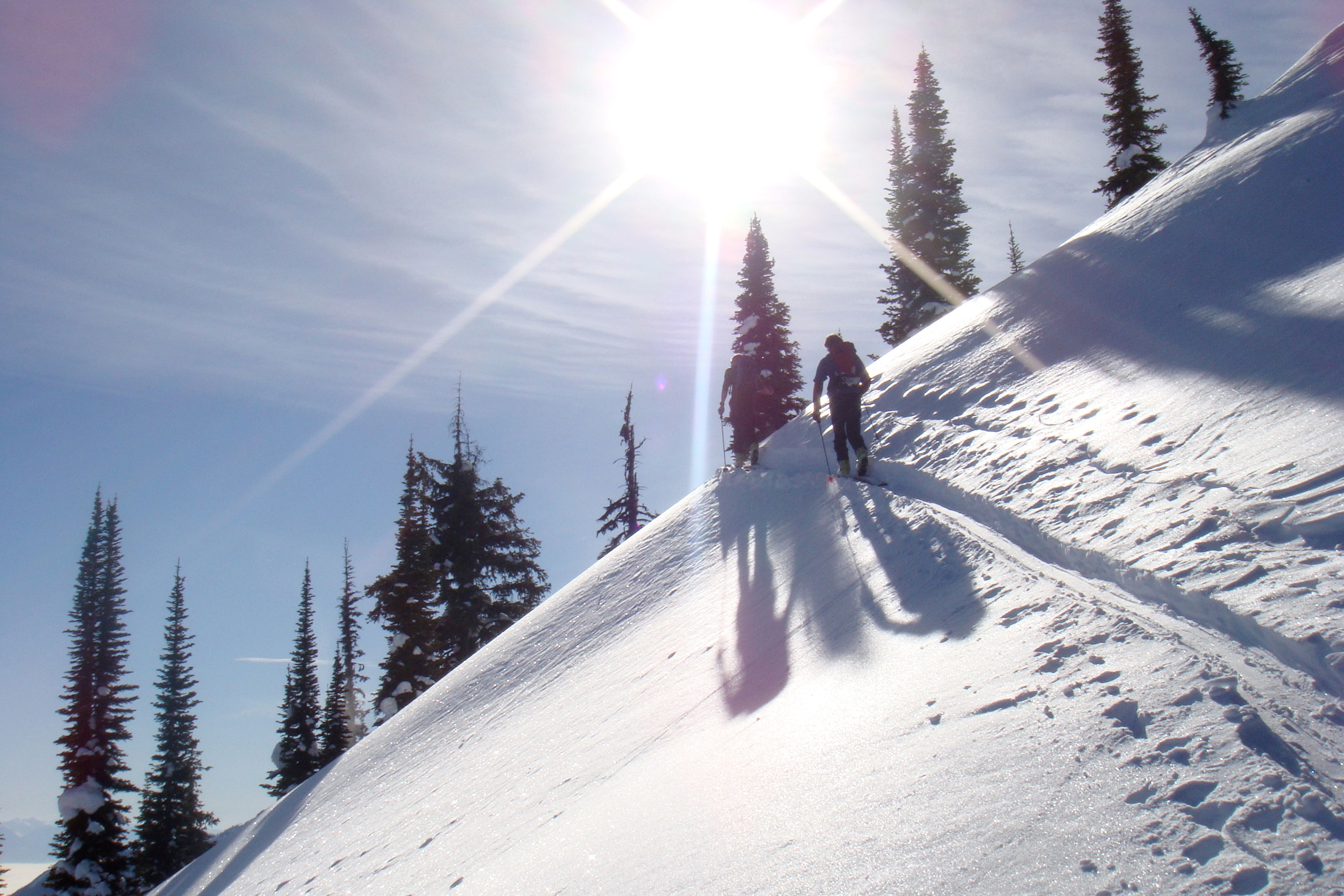 Skier walking on slope under sun