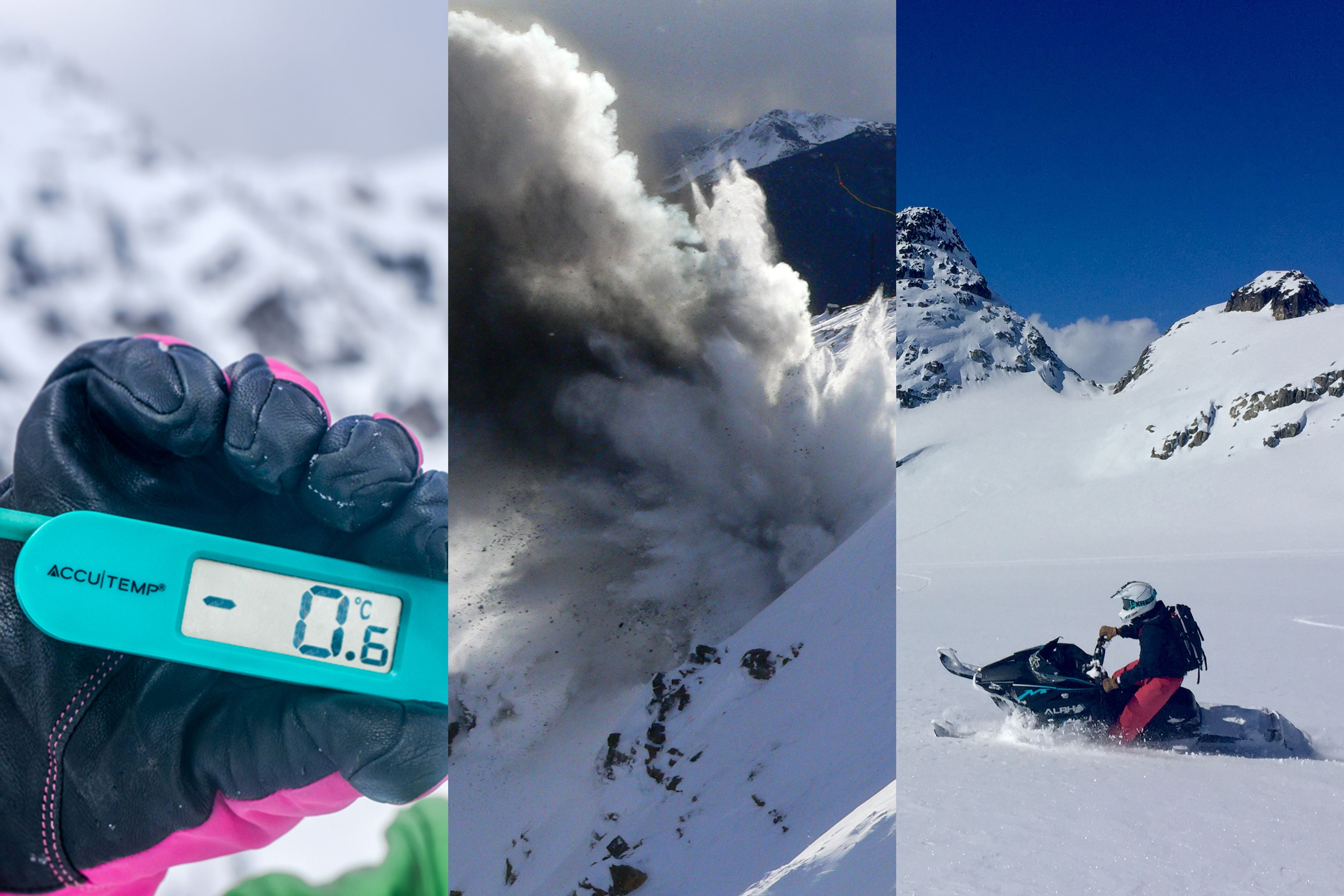 From left: A picture of a thermometer reading -0.6 celsius, explosives avalanche control, and a snowmobiler riding on a slope.