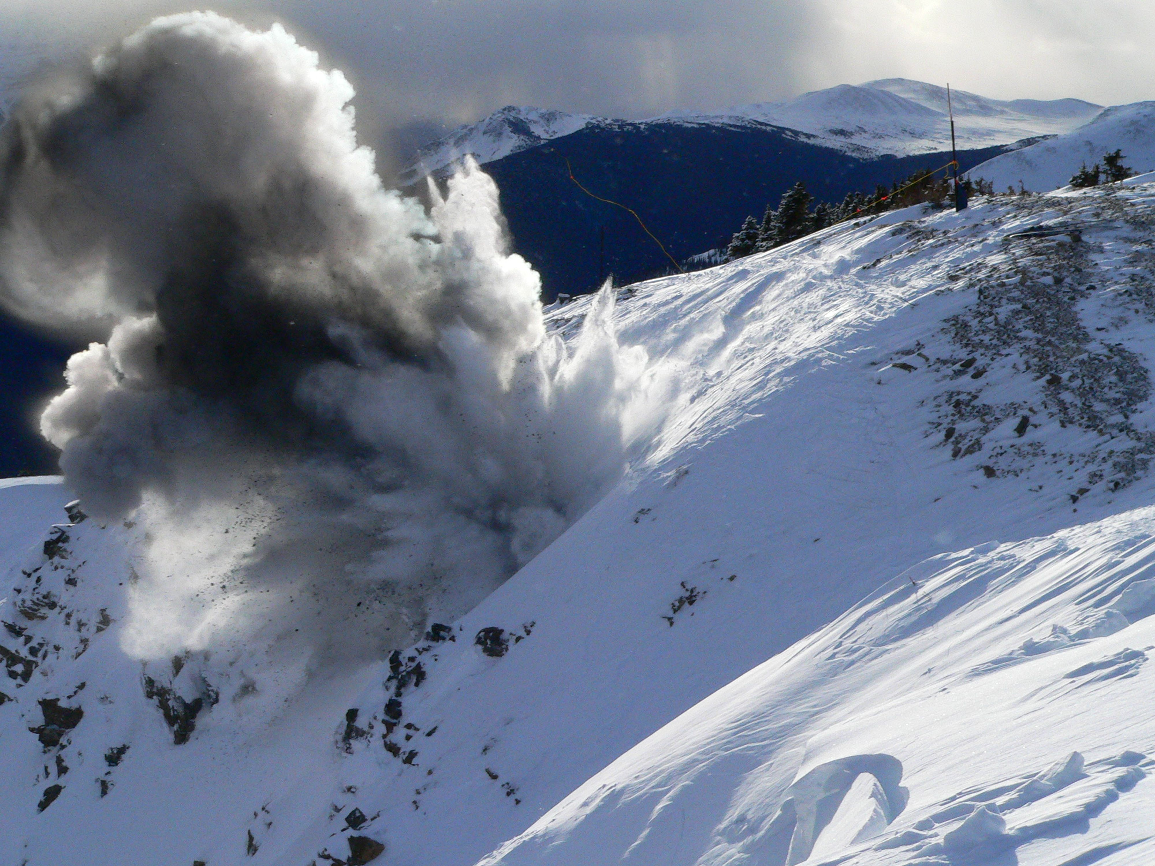 Explosives are used to trigger avalanches when no public is in an area in order to avoid large avalanches when the public is at risk