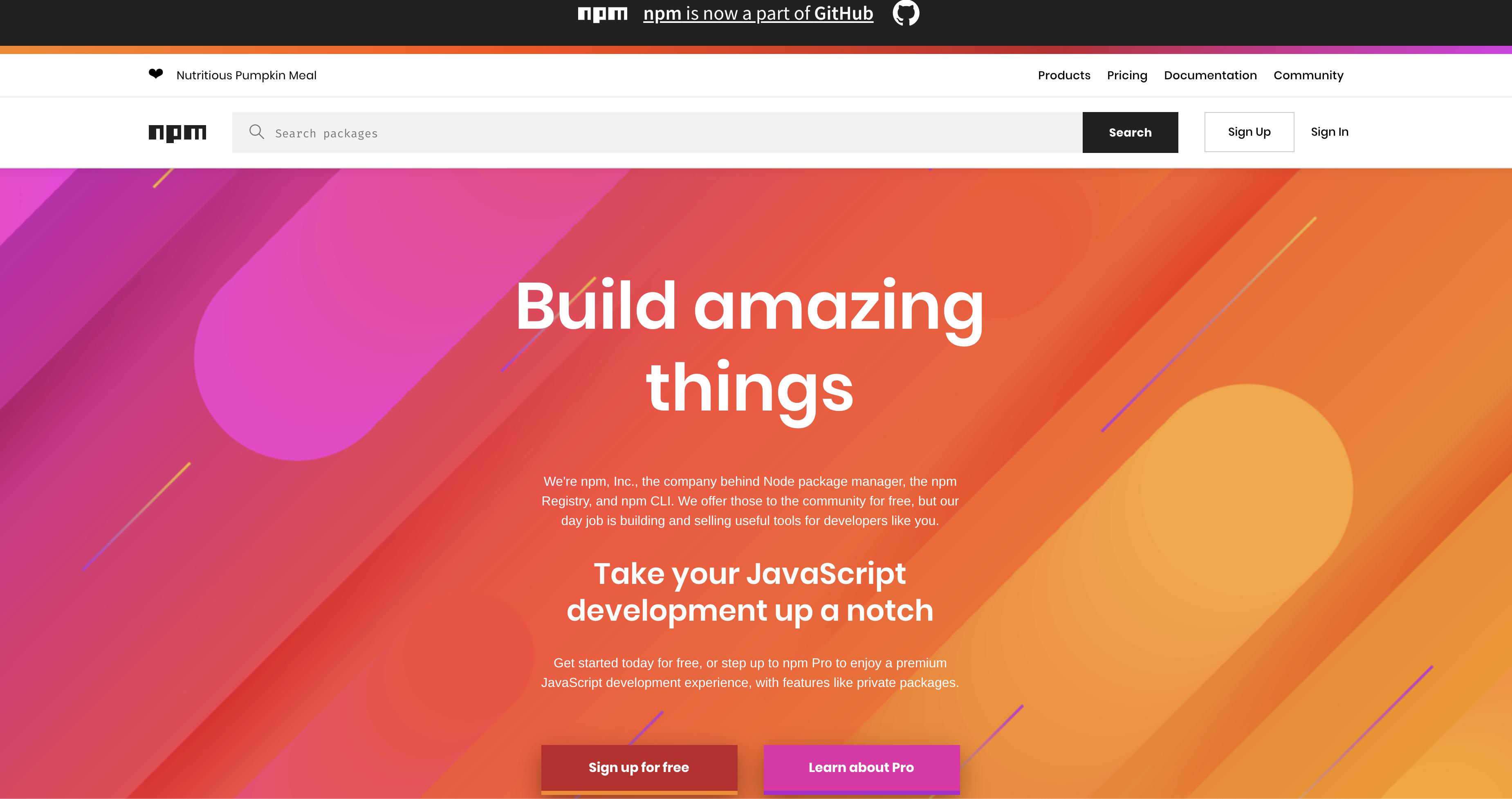 NPM Homepage