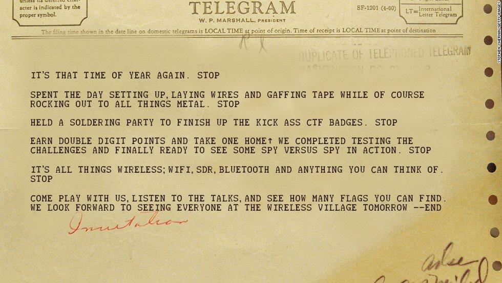 Telegram invitation to the wireless village party