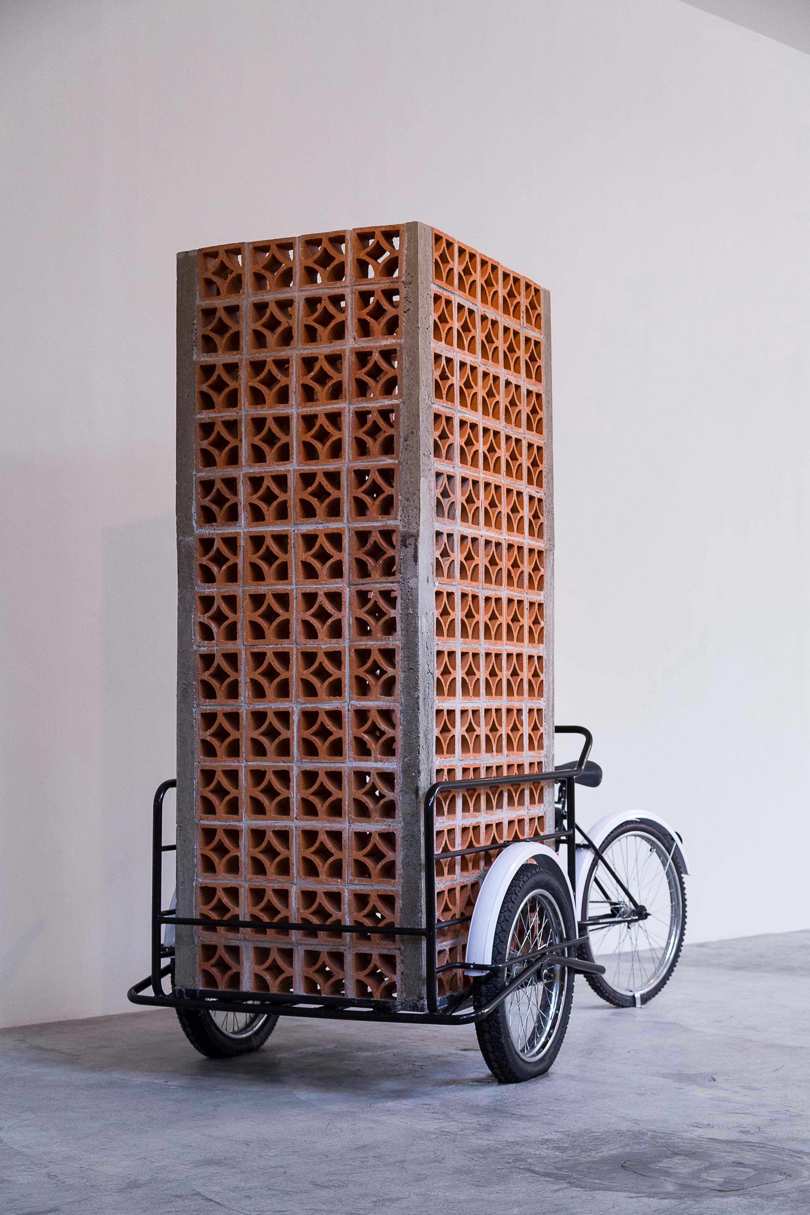 PROTOGEOMETRÍAS   Cemento, arena, alambrón, alambre, celosía, triciclo de venta   2013