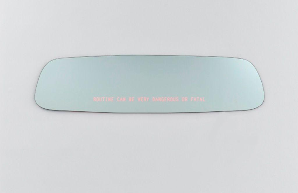 Seguridad: PON ATENCIÓN A QUIEN ESTÁ DIRECTAMENTE FRENTE A TI | Espejo, ganchos de colgar con sujetadores, dimmer, fuente de energía | 46.4 x 182.9 cm| 2012
