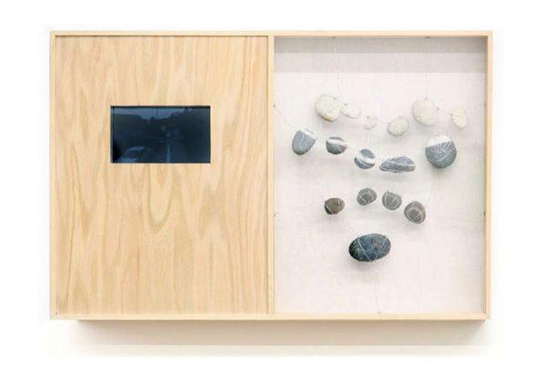 Towards Huautla | Madera, piedras, tela, espejo, video de google maps | 43.18 x 68.58 cm | 2012