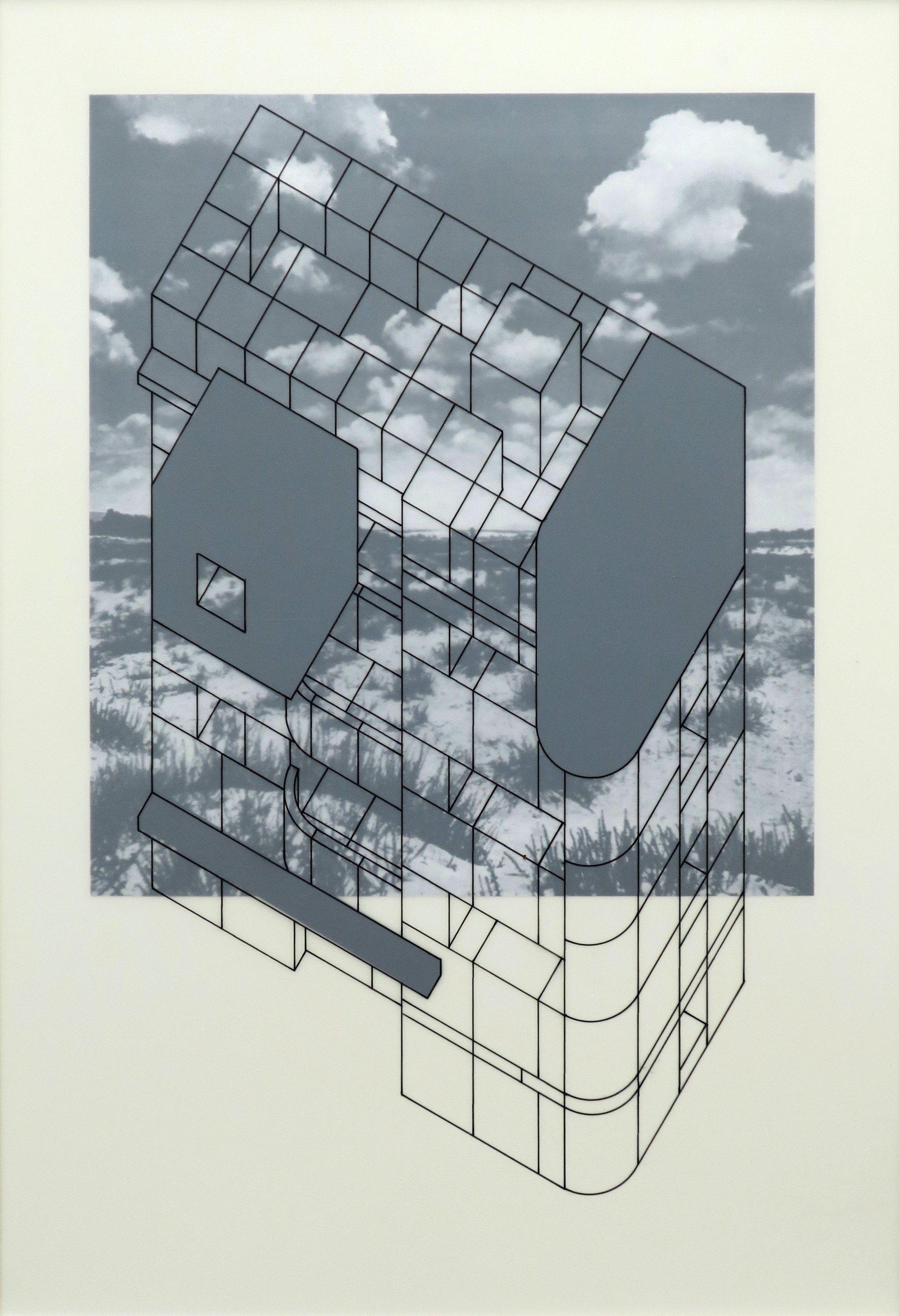 Tel Aviv Study 3 |Tinta y esmalte en mylar, impresión digital en carton de museo  | 60.6 x 45.5cm  (23.86 x 17.91inches) |2019