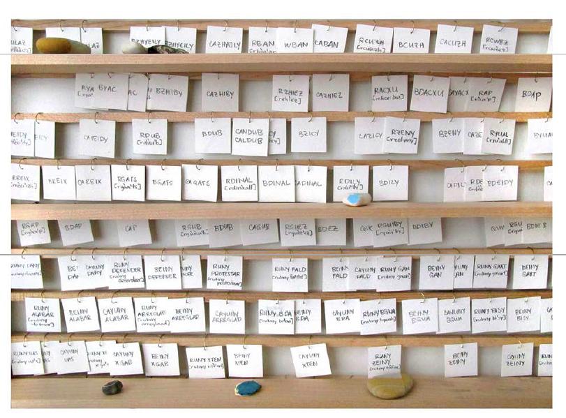 For Learning Zapotec Verb | Madera, lápiz, papel, alambre, piedras encontradas | 127 x 95.5 x 6.35 cm | 2012