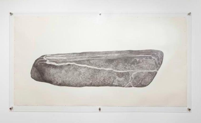 For Prospective Rock/Artifact Projection | Grafito sobre papel, plexiglás, rotulador | 124.42 x 264.16 x 6.35 cm | 2014