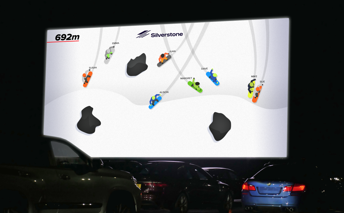 Players enjoy Piing Snowboarding at Silverstone Drive-in Cinema