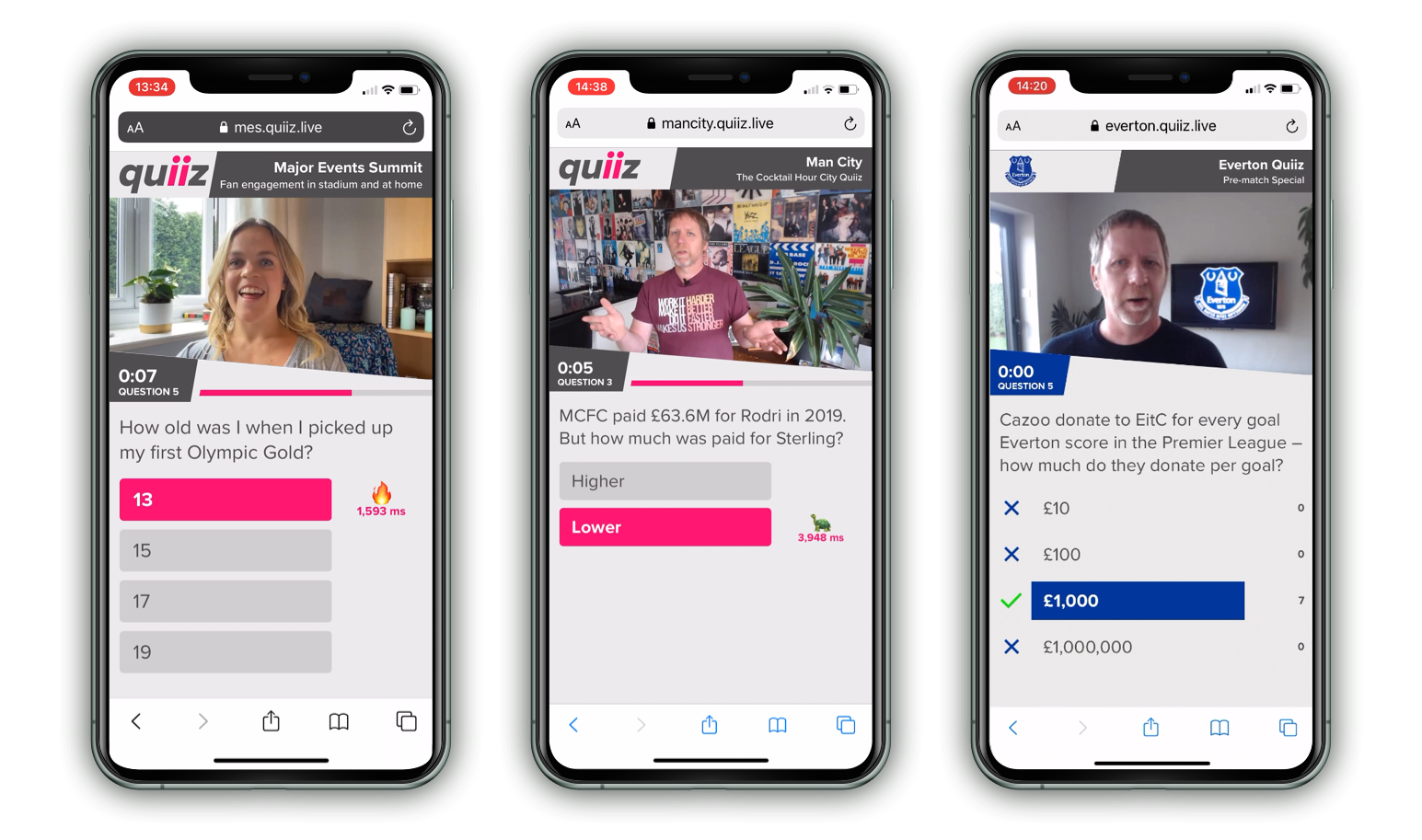 Hundreds or thousands of people can play Quiiz on their mobile phones without downloading an app