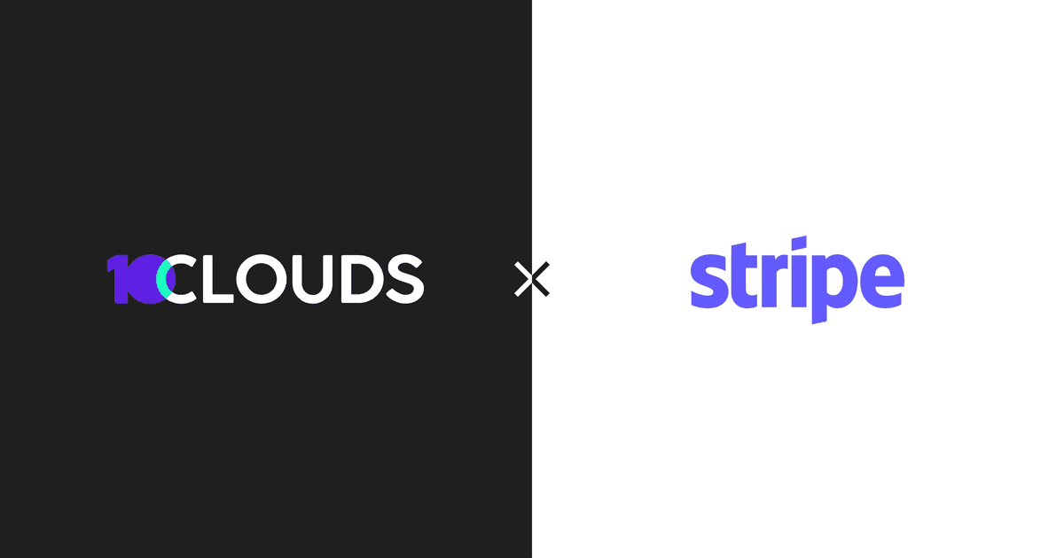 Logos of 10Clouds and Stripe next to eachother