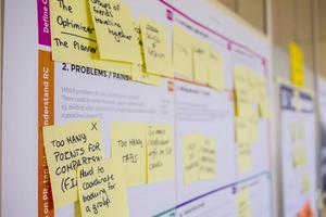 A series of post-it notes around a workflow to determine how to improve user experience