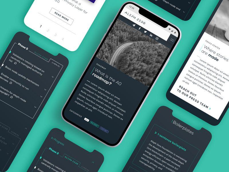 Aleph Zero mobile screens