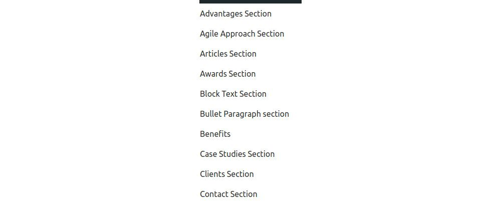 Available sections listed in sanity