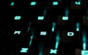 Lit up buttons on a keyboard