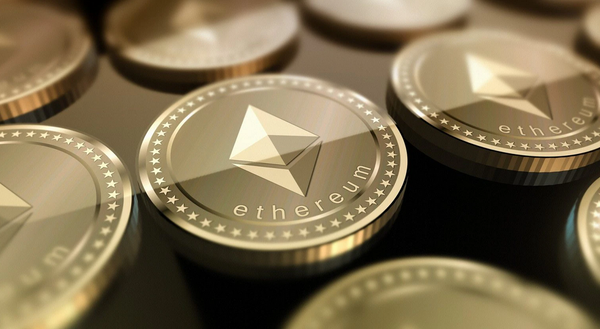 Ethereum coins on a table