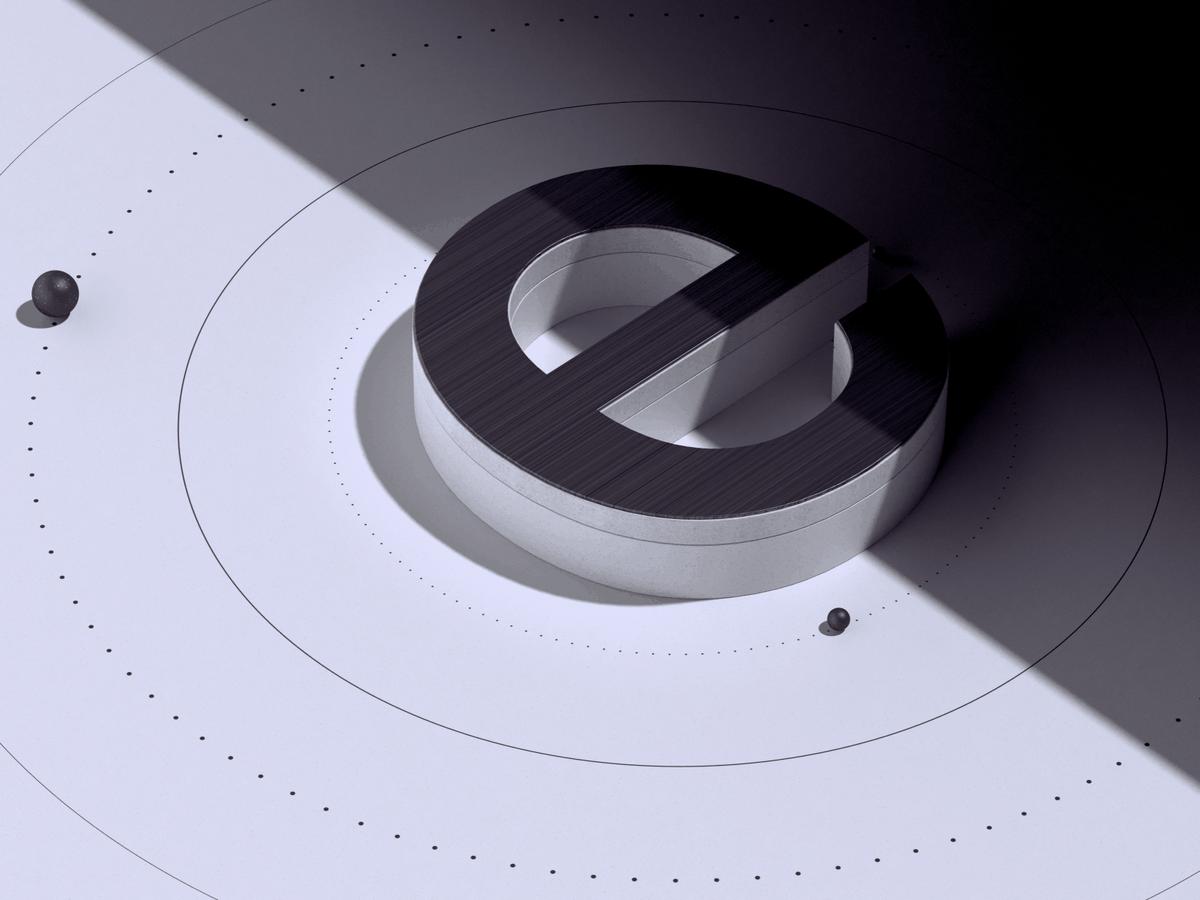 A 3D Letter 'e' in SpaceX design