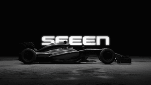 SEEEN logo in black and white featuring a racing car