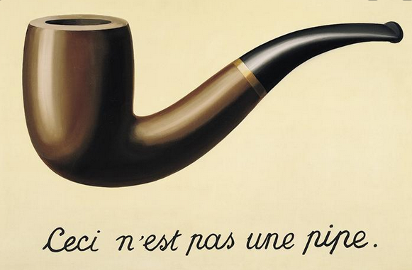 The painting by René Magritte called 'Ceci n'est pas une pipe' showing a pipe and the text beneath.