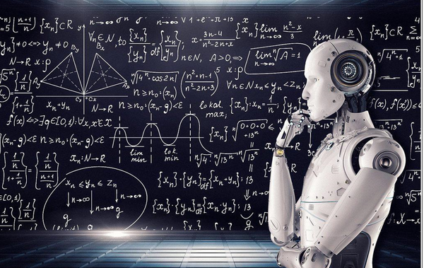 A white robot against a background of equations