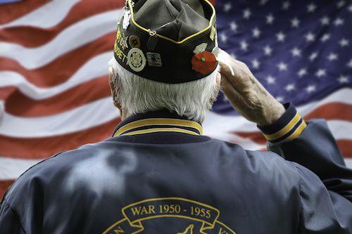 Veteran saluting to American flag.