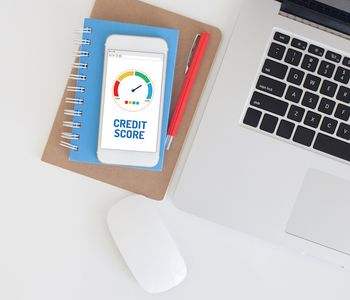 Credit score result flashed in mobile phone.