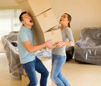 New homebuyers moving into their home.