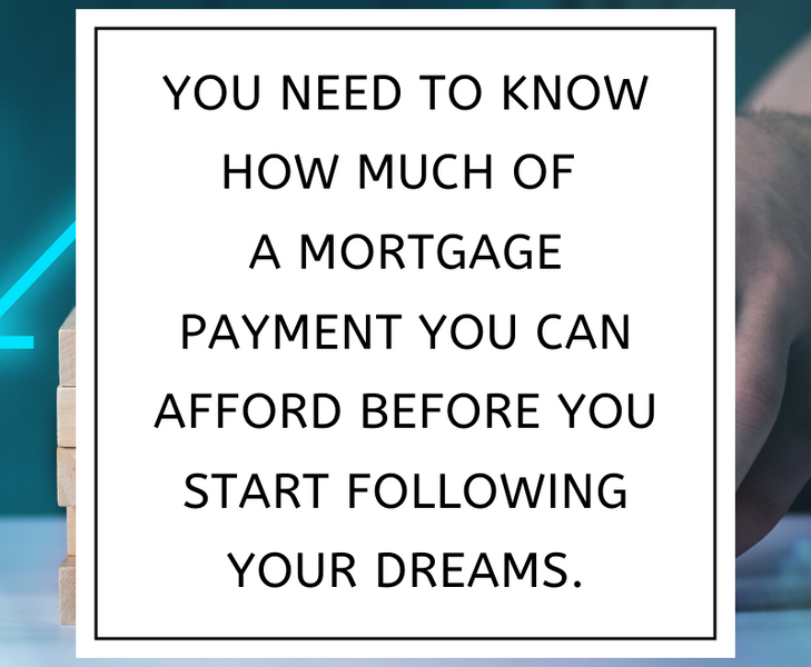 You need to know how much of  a mortgage payment you can afford before you start following your dreams.