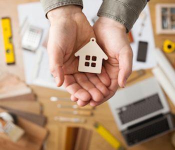 VA home loan concept in hand.