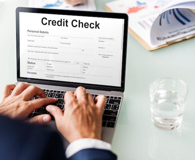 Man checking credit score online.