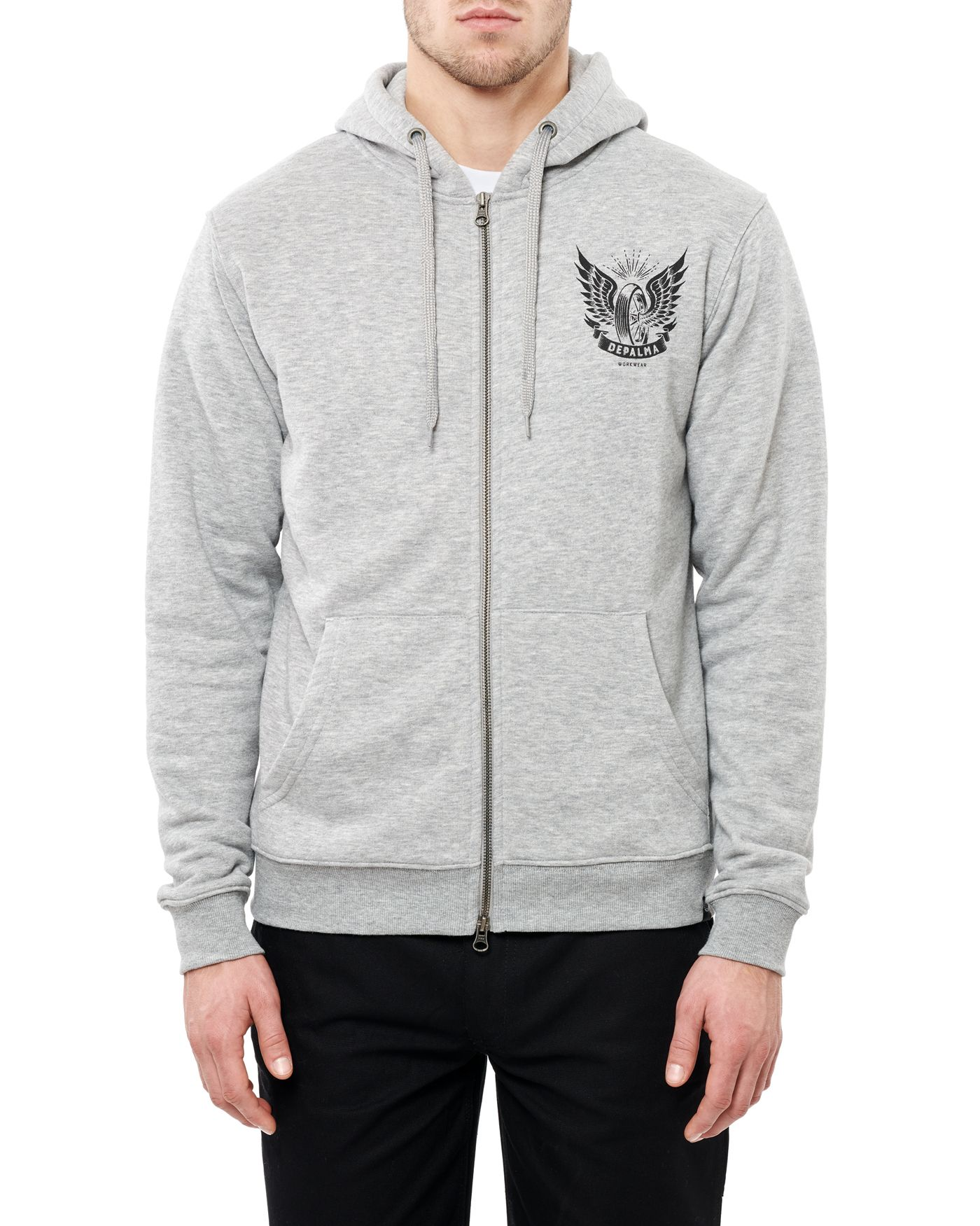Photo of Night Zip Hooded Sweatshirt, Grey Melange