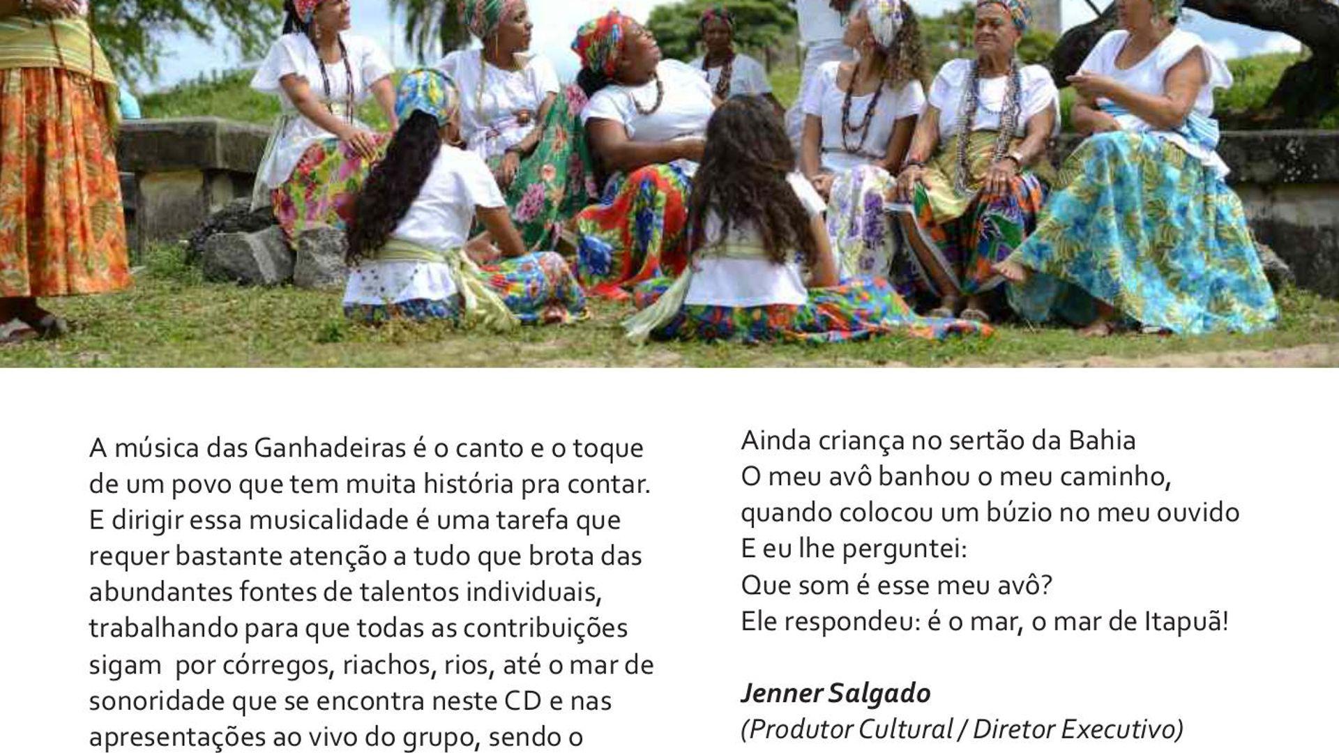 """Destaques do encarte do CD """"Ganhadeiras de Itapuã"""" (Coaxo de Sapo, 2014)"""