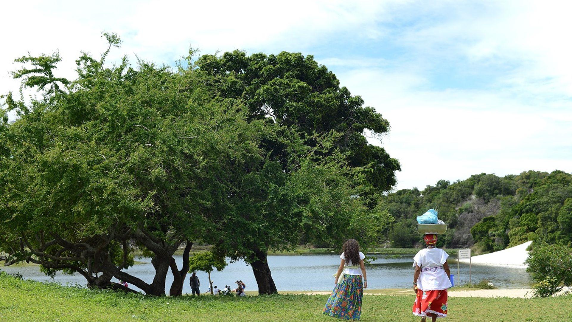 Duas ganhadeiras aparecem de costas caminhando em direção à Lagoa do Abaeté. Foto: Ricardo Prado