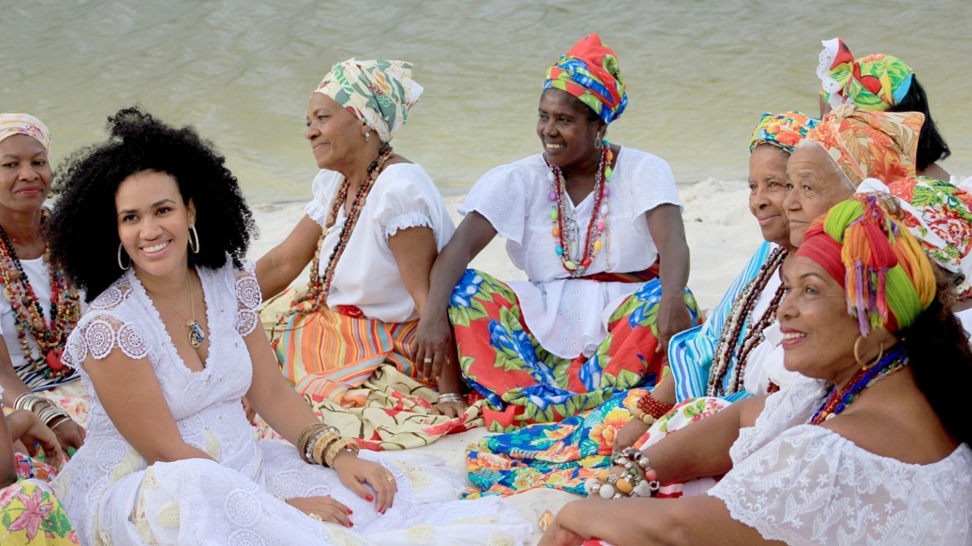Mariene de Castro em gravação de videoclipe com participação especial das Ganhadeiras de Itapuã. Foto: Edvaldo Borges