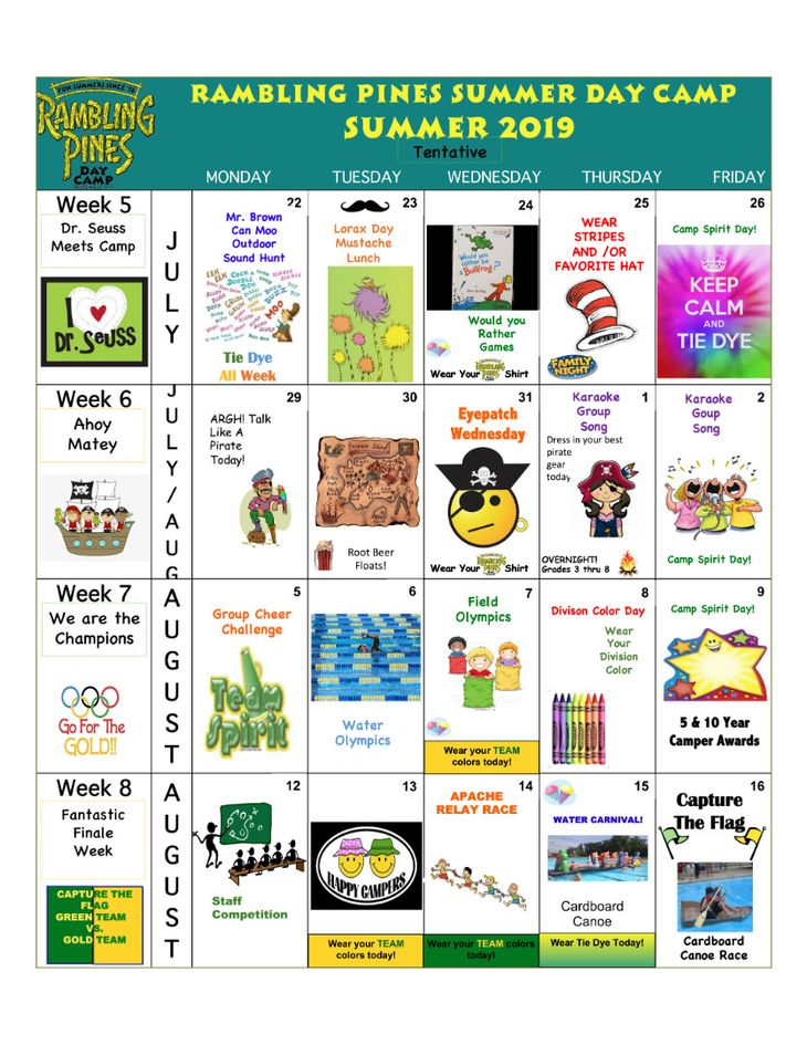Rambling Pines Day Camp 2019 Activity Calendar - 2