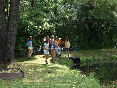 children at nature studies at Rambling Pines Day Camp