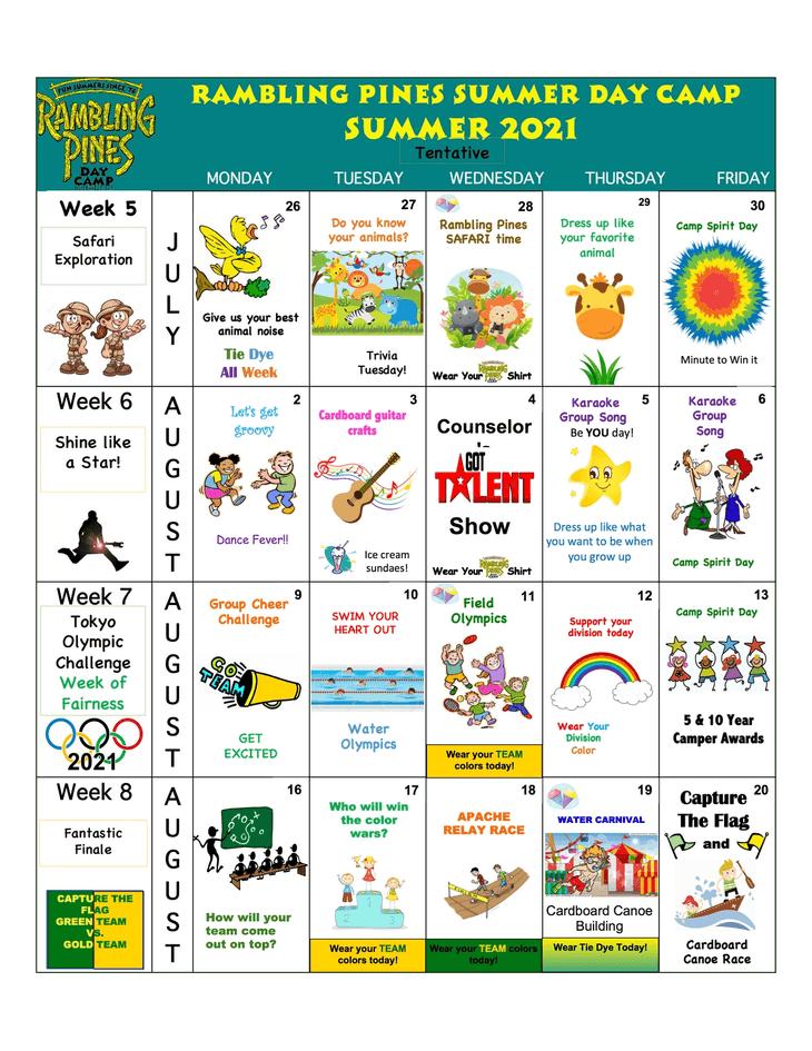 Rambling Pines Day Camp 2019 Activity Calendar - 2
