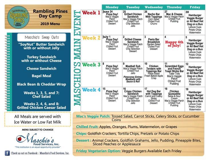 Rambling Pines Day Camp week 1 to 4 lunch menu