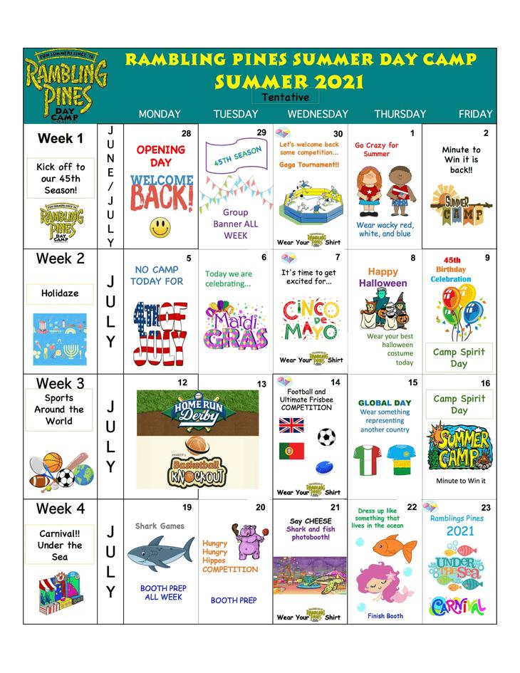 Rambling Pines Day Camp 2019 Activity Calendar - 1