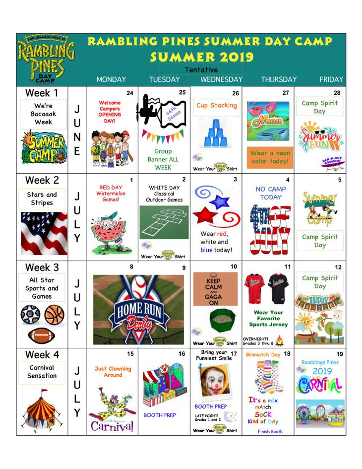 Rambling Pines Day Camp 2019 Activity Calendar - 1