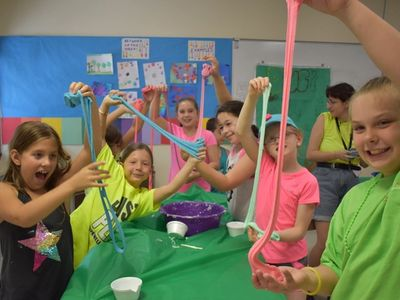 kids having fun with goop and slime at Rambling Pines Day Camp