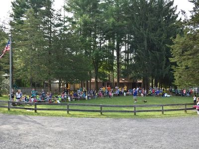 campers at morning assembly on the Jordan Field at Rambling Pines Day Camp