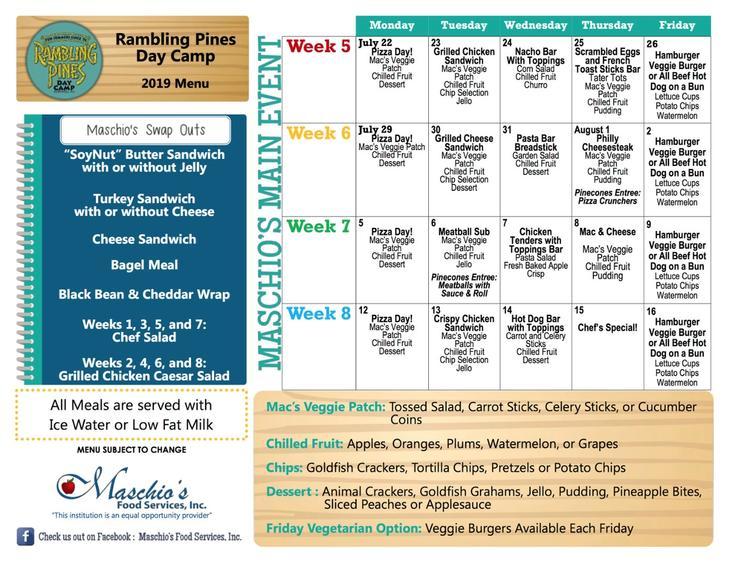 Rambling Pines Day Camp week 5 to 8 lunch menu