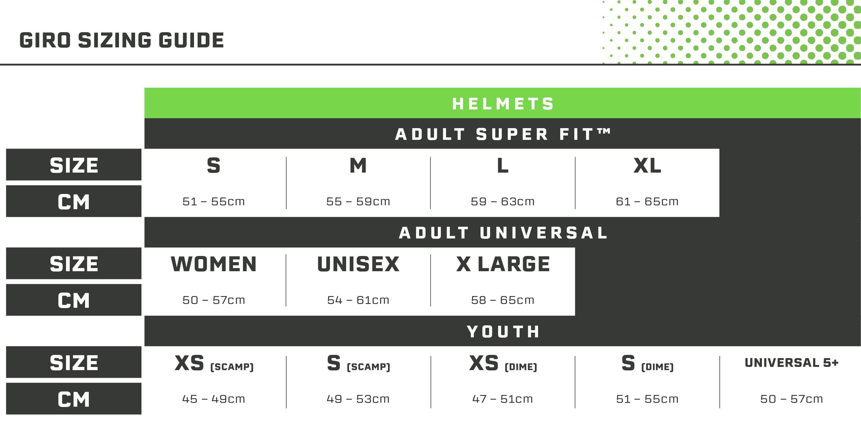 Giro Helmets Size Guide