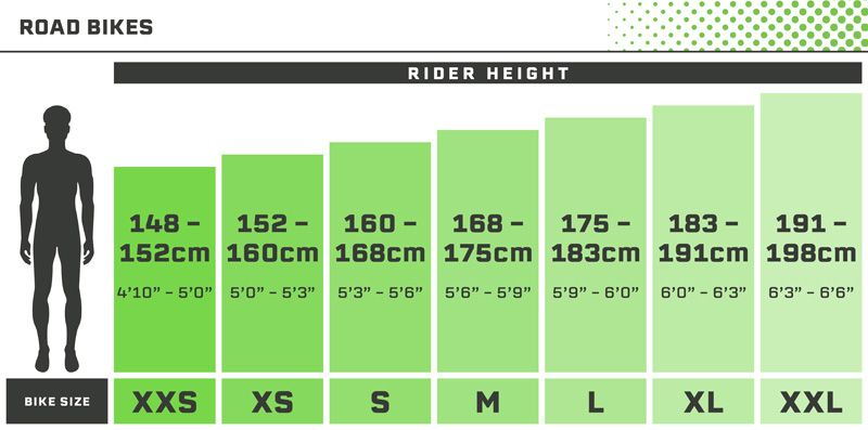 Road Bikes Size Guide - Mens