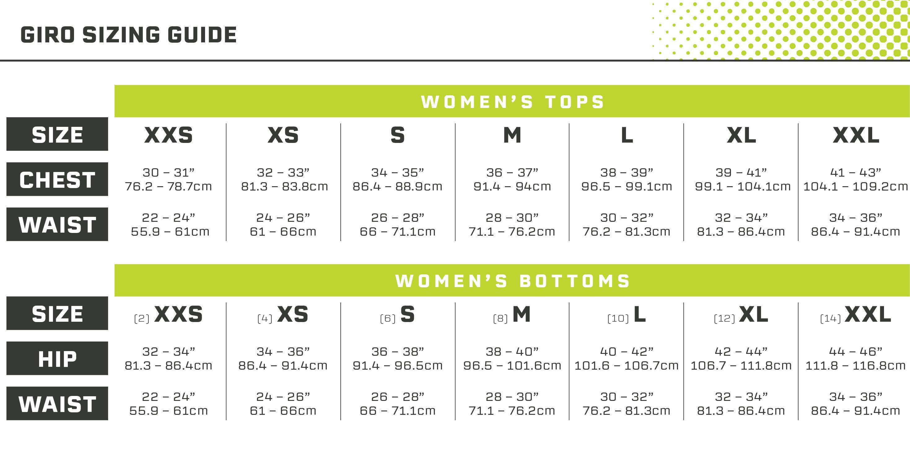 Giro Women's Size Guide
